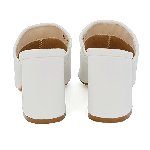 Essex Glam Women's Synthetic Leather Block Heel Slip On Open Back Peep Toe Mule Sandals White Synthetic Leather ksyVsS