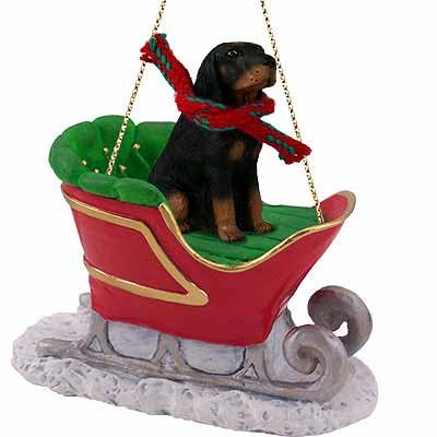 Coonhound Sleigh Ride Christmas Ornament Black-Tan - DELIGHTFUL!