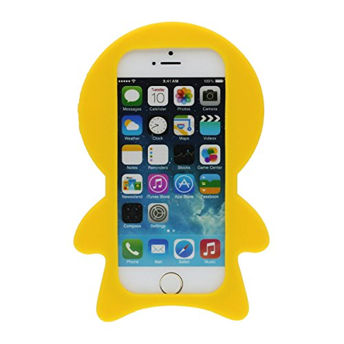 Étui de Protection Apple iPhone 5 5S 5C 5G, Souple Silicone Rubber iPhone SE Coque Case Mignon 3D Dessin animé Petit home Jaune vif antichoc