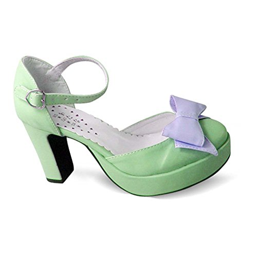 Avacostume Kvinna Vintage Mode Plattform Chunky Klack Sandaler Skor Grönt