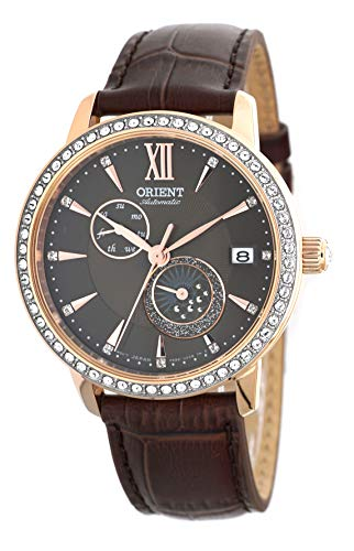 ORIENT Ladies Swarovski Automatic 'Sun and Moon' Brown Dial Rose Gold Watch RA-AK0005Y