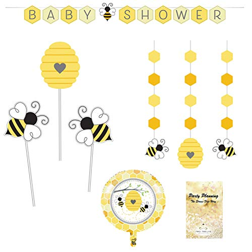 - Bee Baby Shower Party Decorations, Bumblebee Design, 4 Pieces, Centerpiece, Banner, Hanging Cutouts and Balloon