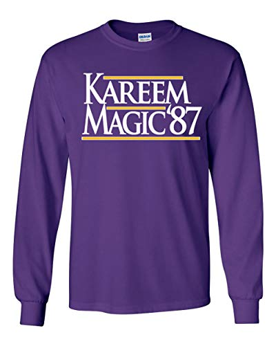 "Long Sleeve Purple Los Angeles Magic Kareem 87"" T-Shirt Adult"