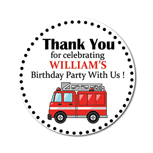 Darling Souvenir Round 45 Pcs Firetruck Birthday Party Custom Thank You Stickers Personalized Name Envelope Seals