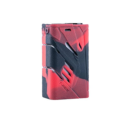 - DSC-Mart Texture Case for SMOK T-PRIV 220W, Protective Silicone Skin Cover Sleeve Wrap Fits TPRIV 220 Watt (Blackred)