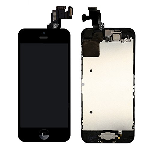 (For iPhone 5C Screen Replacement With Home Button - MAFIX Full Assembly LCD Display Digitizer Touch Screen Kit Include Repair Tools & Screen Protector)