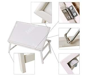 SoBuy® Bandeja de desayuno, mesa de cama, mesita plegable de madera , blanco, FBT15-W