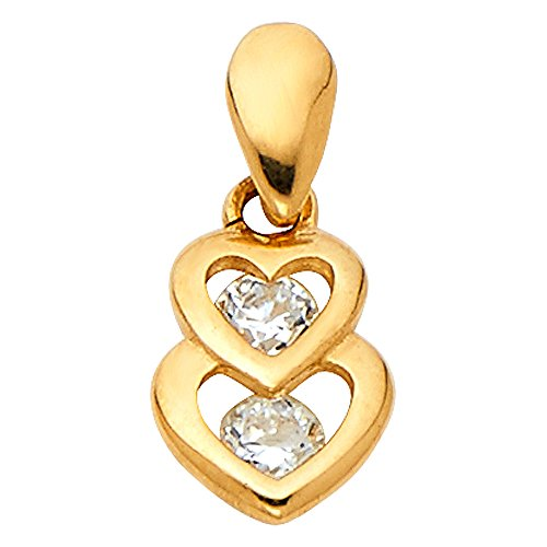 - Jewels By Lux 14K Yellow Gold Cubic Zirconia CZ Heart Pendant 10mm X 7mm
