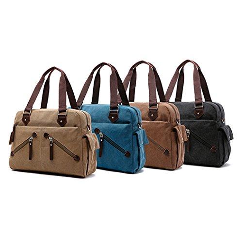 Retro Men Classic 3 fbb07 QISHI Coffee Briefcase YUHUA 1 khaki Canvas hyq qpf4wRwnx