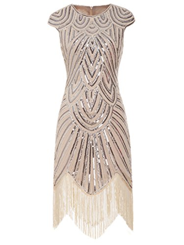 FAIRY COUPLE 1920s Sequined Embellished Tassels Hem Flapper Dress D20S002(S,Champagne)
