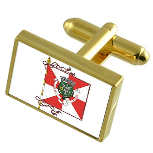 5802ccf1d503 60% de descuento La ciudad de Aveiro Portugal Oro Gemelos de bandera cuadro  grabado