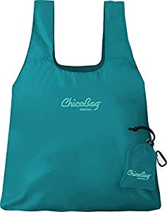 ChicoBag Original Compact Reusable Shopping Tote Grocery Bag, Eco-Friendly, Washable, with Attached Pouch and Carabiner Clip to Take With You on the Go, Aqua Color