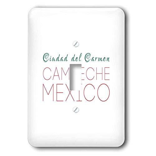 3dRose Alexis Design - Mexican Cities - Ciudad del Carmen Campeche national colors patriot Mexico home town - 2 plug outlet cover (lsp_311299_6)