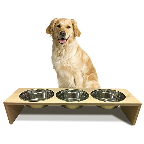 Unfinished mahogany wood elevated pet feeder, Single Bowl Raised Stand (3 quart each) included, 3/4'' thick, 14'' x 11'' x 13'' Tall by TFKitchen