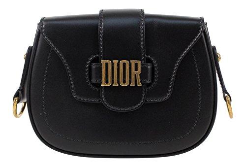 Christian Dior D-Fence Black Leather Saddle Hand Bag
