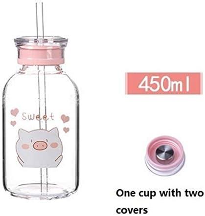 Aislamiento Kawaii botella de agua portátil Copa cerdo creativo de agua de dibujos animados lindo de los niños taza de cristal bpa botella de agua libre con paja for la venta al por mayor Grande