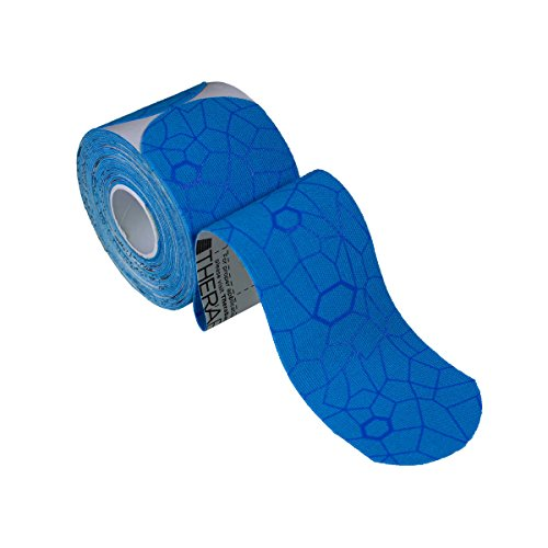 TheraBand Kinesiology Tape, Waterproof Physio Tape for Pain Relief, Muscle & Joint Support, Standard Roll with XactStretch Application Indicators, 2'' X 10'' Strips, 20 Precut Strips, Blue/Blue by TheraBand