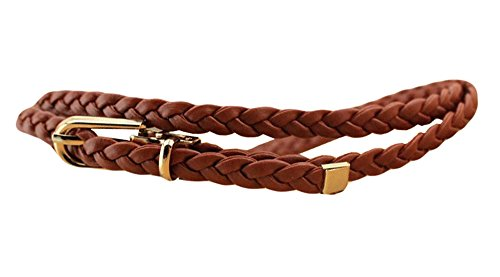 Skinny Braided Belt (Qiabao Women's Faux Leather Braided Skinny Waist Belt)