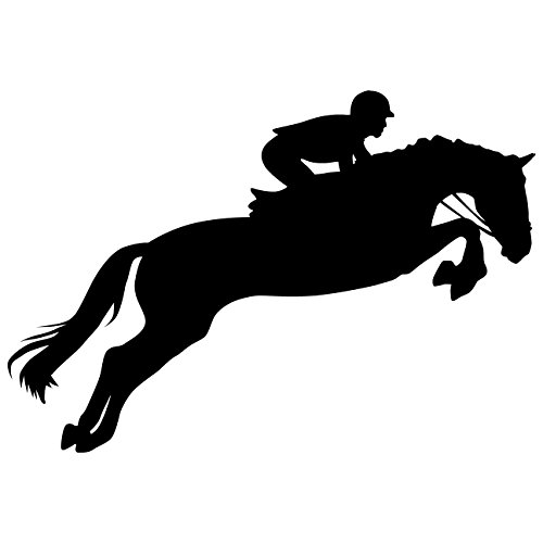 Horseback Riding Wall Decal Sticker 1 - Decal Stickers and Mural for Kids Boys Girls Room and Bedroom. Horse Riding Racing Wall Art for Home Decor and Decoration - Equestrian Silhouette Mural (Kids Horse Bedroom)