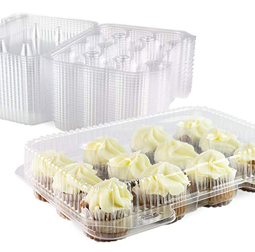 (Chefible 12 Mini Cupcake Container, Cupcake Box- Set of)