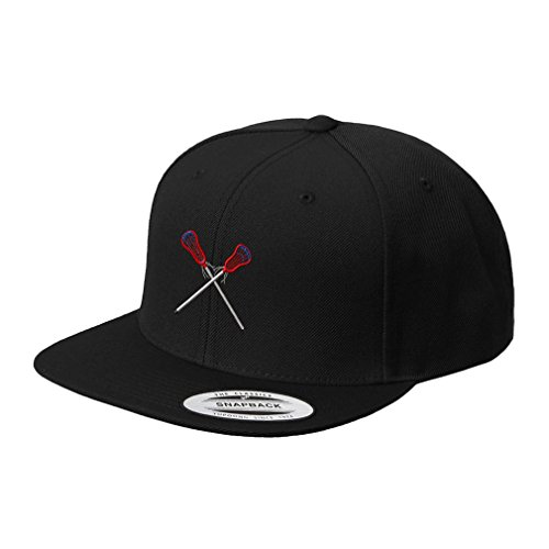Lacrosse Sports Style 4 Embroidered Flat Visor Snapback Hat Black