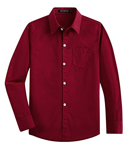Spring&Gege Boys' Long Sleeve Solid Formal Cotton Twill Dress Shirts Burgundy 11-12 Years