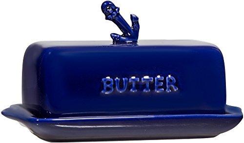 Home Essentials Home Essentials Cobalt Blue Anchor Butter Dish One Size,