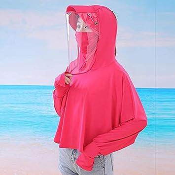 S-Chihir Ropa de protección solar protector solar camisa de manga larga, verano de las mujeres Nueva delgada de manga larga anti-UV transpirable anti-espuma Cap Capa de Protección Solar chaqueta de la: Amazon.es: