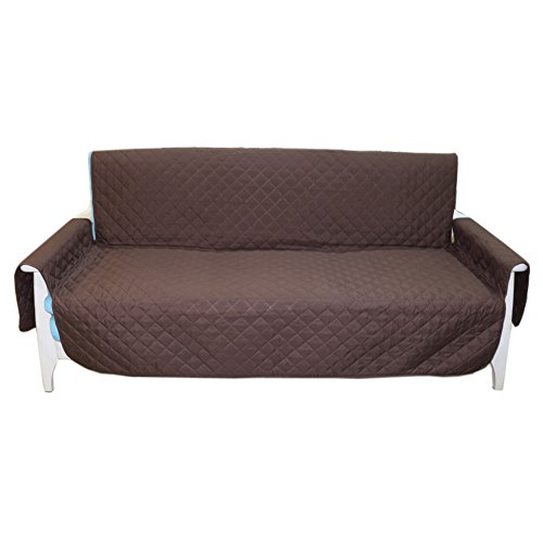 Quilted Reversible Sofa Slipcove for Pet Dog Kids Furniture Protector Couch Cover 70' X 114' Coffee