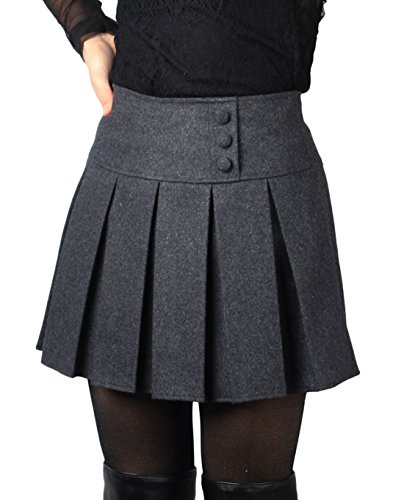 chouyatou Women's Casual Plaid High Waist A-Line Pleated Skirt (X-Large, H908-Gray)