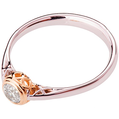 Two Tone Woven Handmade Band - 18k White and Rose Gold Celtic Two Tone Diamond Engagement Ring For Women Promise Band Knot Woven Braided