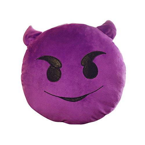 Devil Plush Doll - Emoji Emoticon Cushion Pillow Cute Round Soft Stuffed Plush Toy Doll for Kids Party Sleeping Purple Devil