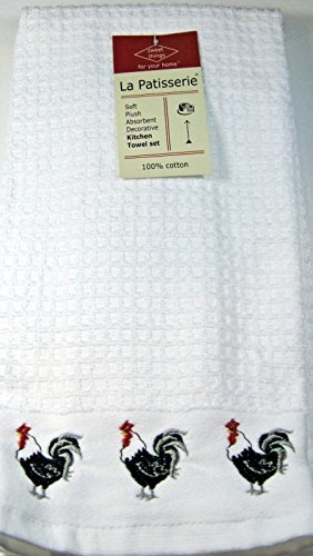 La Patisserie Decoraative Set of White Waffle Weave Kitchen Towels with Rooster Border 100% Cotton by La Patisserie