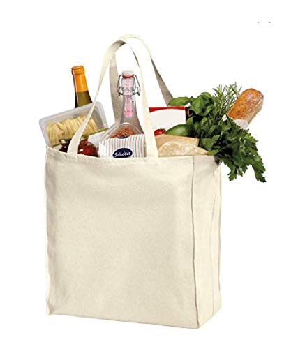 Best Deal(3 pack only for 22.90 $) Heavy Cotton Twill Over-the-Shoulder Grocery Tote Bags - 15.5