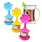 Extra Fine Mesh Tea Infuser,4-FQ Silicone Tea Infuser with Drip Tray for loose-leaf tea,Stainless Steel Strainer Tea Balls Tea Filter for Tea Cup, Pot, Mug