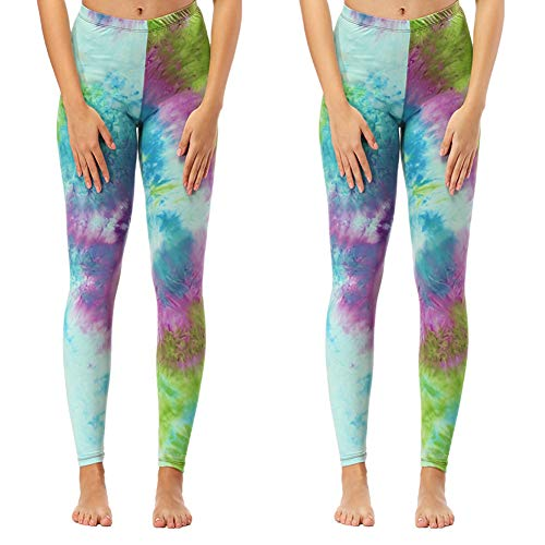 (Women's Buttery Soft Printed Leggings - One/Plus High Waisted Fashion Pants 20+ Designs (One Size (US 2-12), 2 - Pack Summer Peacock (Hand Made Tie-dye)))