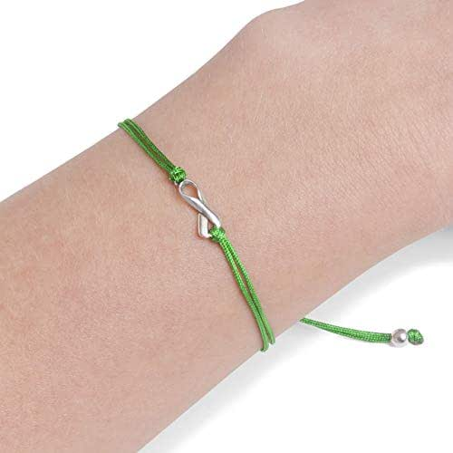 Green Thread Friendship Support Bracelet, Handmade Small Sterling Silver Ribbon Shaped Charm. Aware for Brain Injury, Liver Cancer, Organ Donate Life, Kidney Disease, Scoliosis. Adjustable