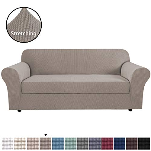 H.VERSAILTEX High Stretch Sofa Cover 2 Pieces Machine Washable Stylish Furniture Cover/Protector with Spandex Jacquard Checked Pattern Fabric for 3 Seater Sofa (Sofa Large, Taupe) (Individual Couch Cushion Covers)