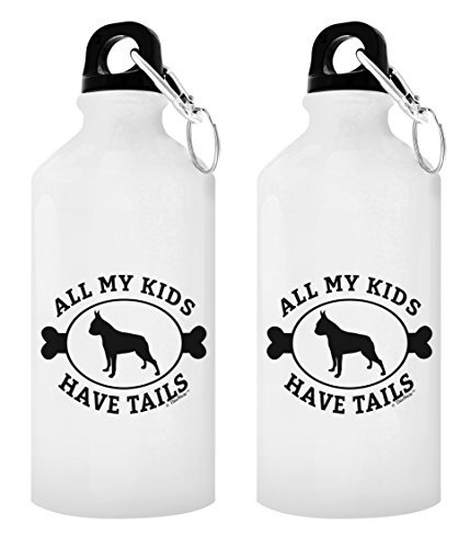 Boston Terrier Mug All My Kids Have Tails Boston Terrier Rescue Gift Boston Terrier Puppy Gift 2-Pack Aluminum Water Bottles with Cap & Sport Top White