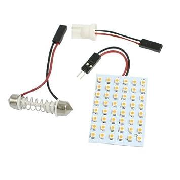 Amazon.com: eDealMax Coche Amarillo 1210 3528 SMD 48 LED Bombilla luz de techo de la lámpara w adaptador de Adorno T10: Automotive