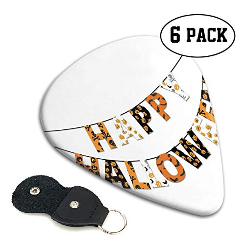 Guitar Picks 6 pcs,Happy Halloween Banner Greetings Pumpkins Skull Cross Bones Bats Pennant -