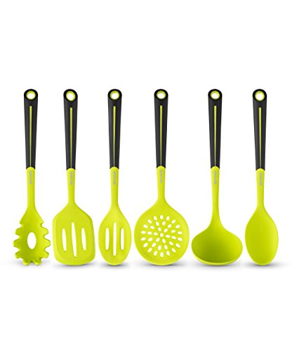 Art and Cook 6 Piece Silicone Utensil Set, - Cook Green