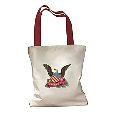 Eagle United States Shield 4th July Canvas Colored Handles Tote Bag
