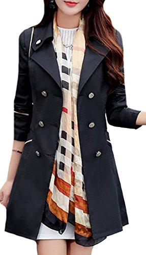 Pandapang Womens Double Breasted Slim Lapel Midi Trench Coat Jackets Black XS (Midi Coat)