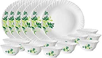Larah by Borosil Fern Opalware Dinner Set, 33-Pieces, White