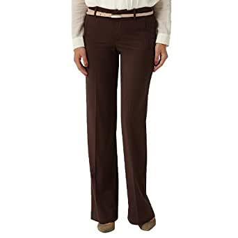 Dockers Women's Petite Besom Pocket Trouser, Hart Stripe Chocolate Brown, 16/Medium