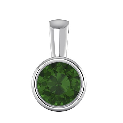 1/2 Ct Round Cut Gemstone Solid 10K White Gold Bezel Set Solitaire Pendant (Emerald) (Jewelry 10k Set)