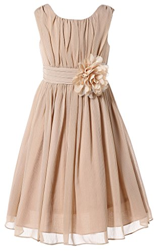 Bow Dream Little Girls Elegant Ruffle Chiffon Summer Flowers Girls Dresses Junior Bridesmaids Champagne 18