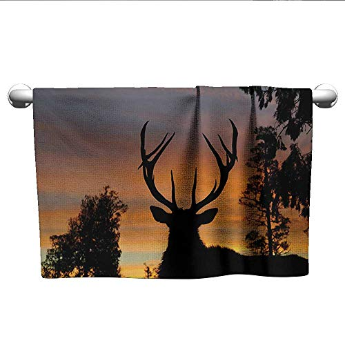 (Antlers,Small Bath Towels Black Deer on Sky Background West Coast South Island New Zealand Nature Hand Towels for Bathroom Seal Brown Marigold W 28