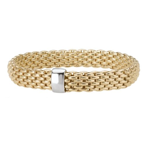 14k Yellow Gold over 925 Silver Thick Woven Stretch Bangle Bracelet- 6.25+ IN by Element Jewelry